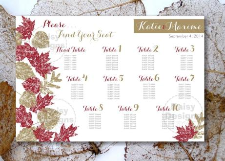 Grunge Leaves Fall - Seating Chart