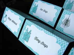 Aqua Pattern Seating Cards