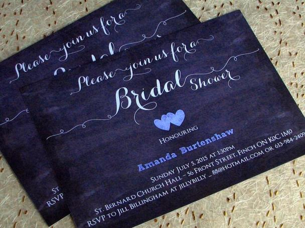 Chalkboard Shower invites