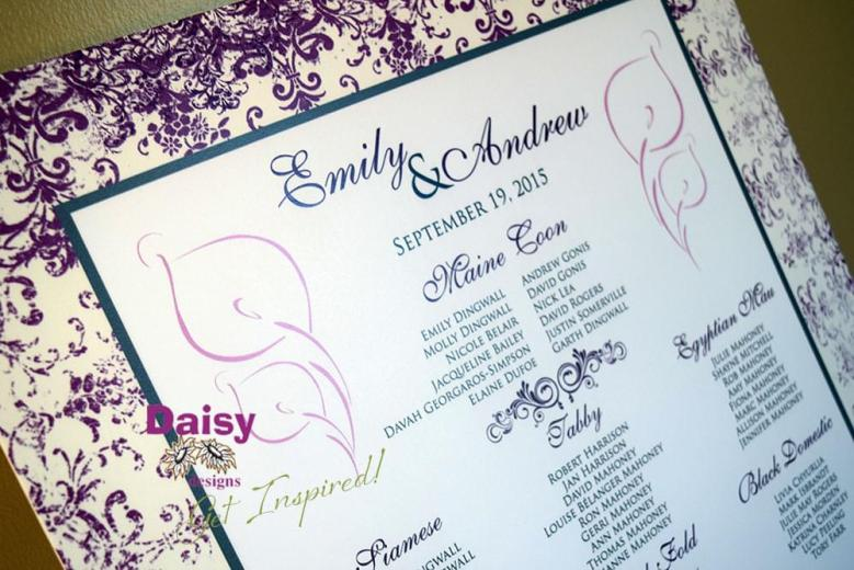 Purple Antique Seating Chart Close-up
