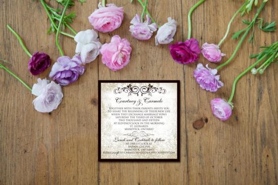 antique browns invite with flowers
