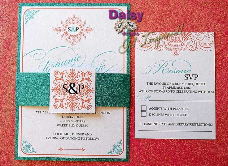Elegant Coral invite/rsvp