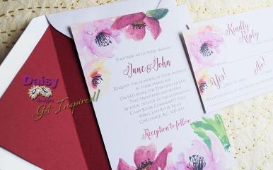 Raspberry Rosette invite/rsvp with ruby liner