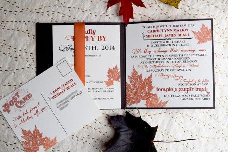Woodgrain invite open with post card