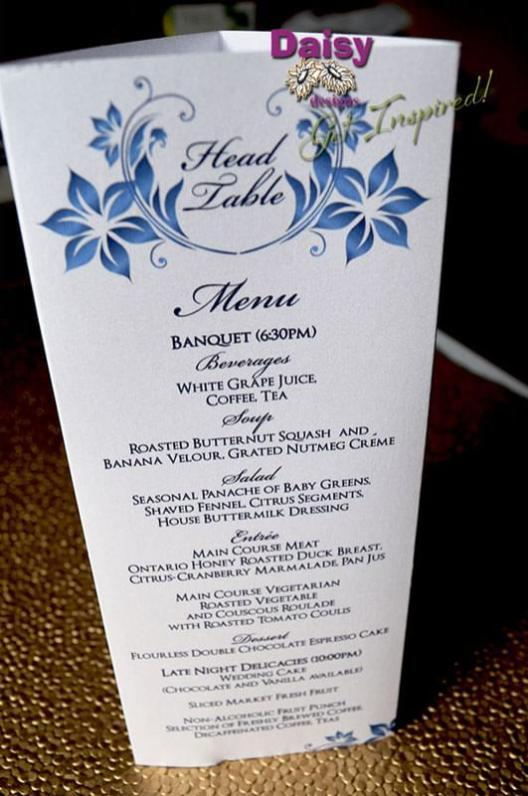 Navy Blossoms menu