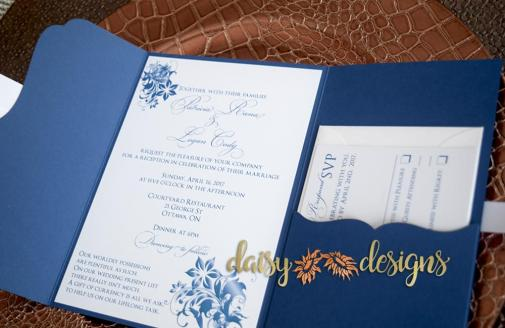 Navy Blossoms Laser-cut pouch
