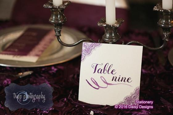 majestic purple lace table number