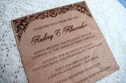 Laser-Etched Wood Veneer Invitation