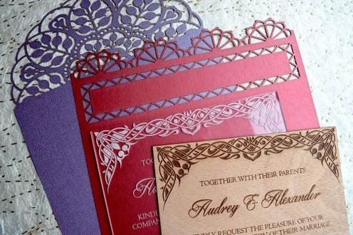 variety of laser-cut invitations