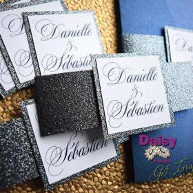 Platinum Glitter invite and belly bands