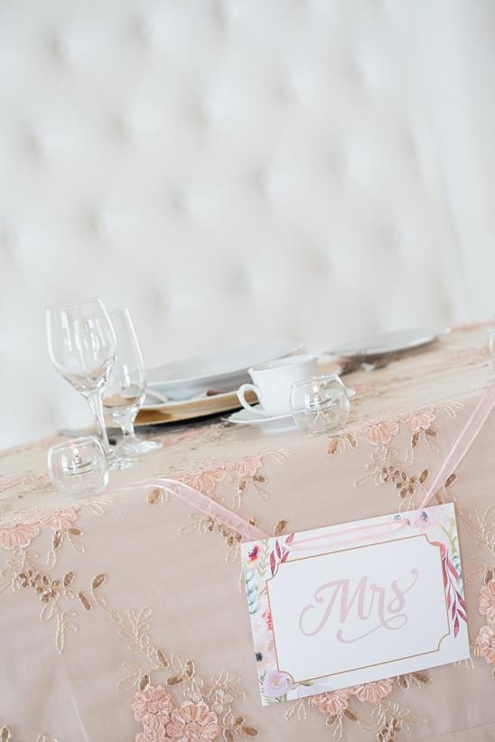 Blush Champagne - 'MRS' head table decoration card
