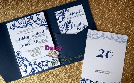 Simple Navy Pocket invite rsvp and table number