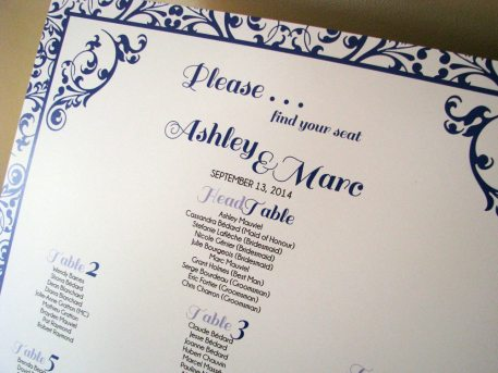 Simple Navy Seating Chart Closeup