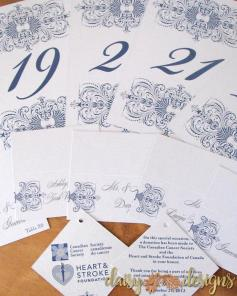 Sapphire Lace gift tags and table numbers