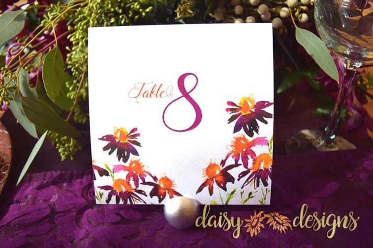 Saffron Daisy Table Number