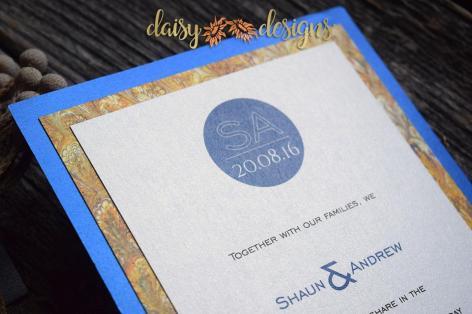 Blue Silk - Gold Marble invite closeup