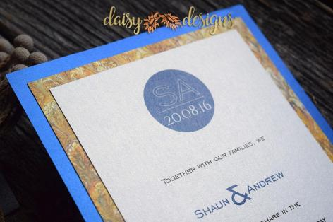 Blue Silk - Gold Marble invite closeup