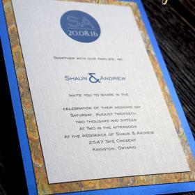 Blue Silk - Gold Marble invite