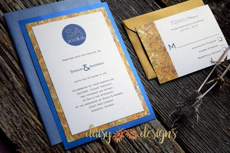 Blue Silk - Gold Marble invite and rsvp