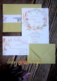 clover and wheat wedding invitation and rsvp with flat coloured envelopes
