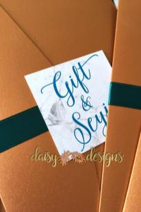 Marble Copper Teal monogram