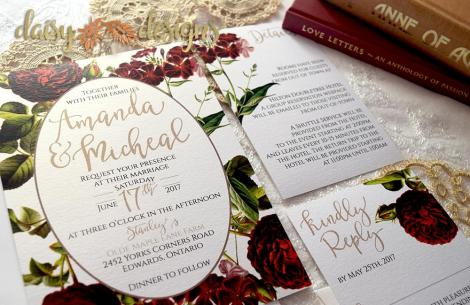 English Garden invite, rsvp and details insert card