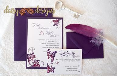 Simply layered invite & rsvp with optional envelopes