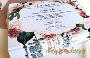 Blush and Gold Blossoms invites stacked