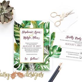 Tropical Palms Destination Wedding Invitation Suite