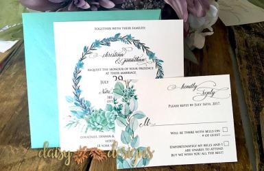 Succulent Wreaths invite and RSVP
