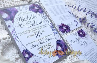Purple Silver invite close-up