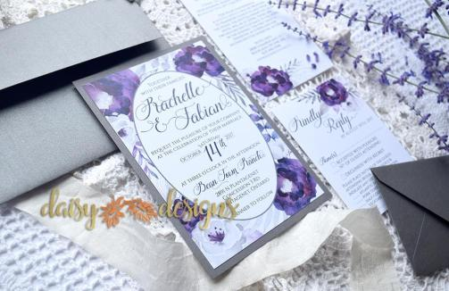 Purple Silver suite with optional grey envelopes