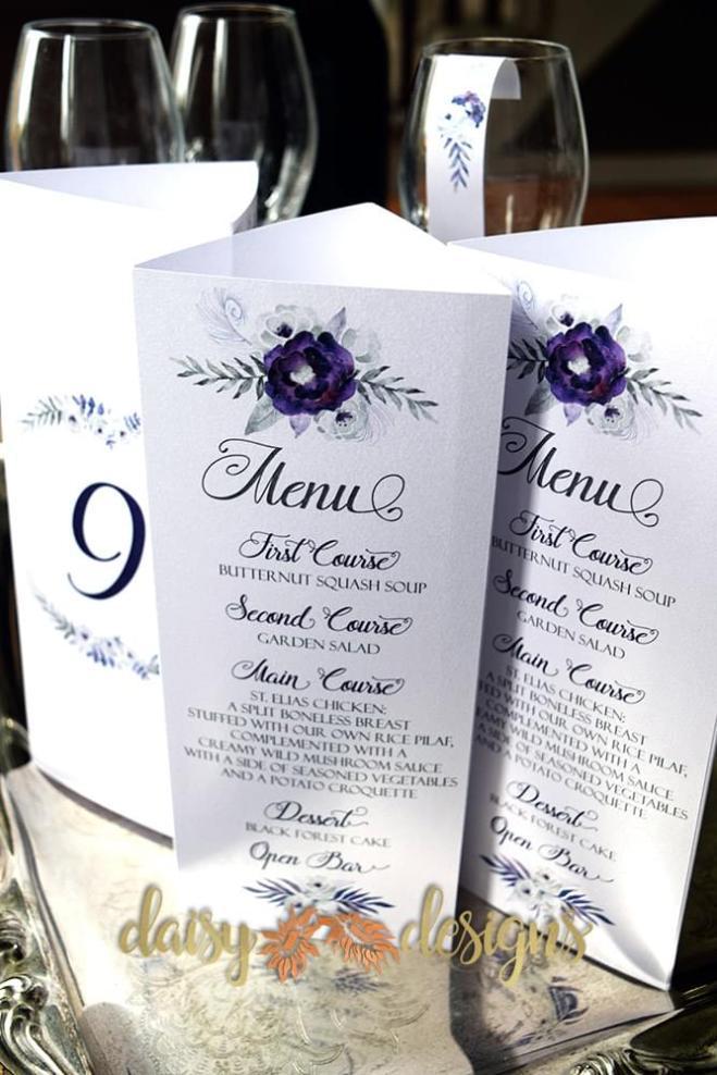 Purple Silver Menus