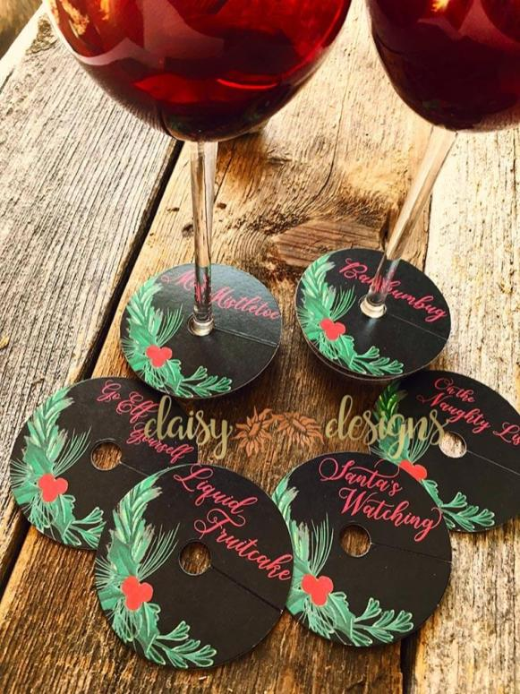 Holiday Wine Glass tags