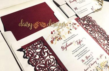 Cranberry and Cream laser cut set