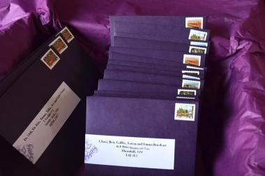 Damask Fortune Teller invites ready for mailing