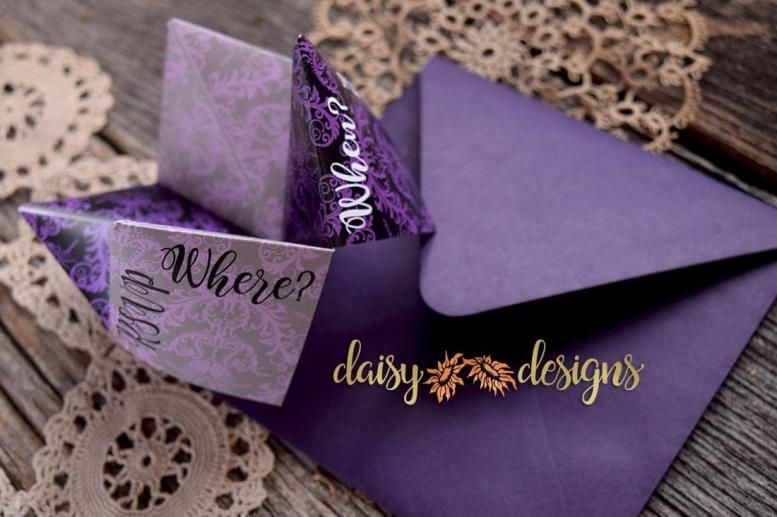 Damask Fortune Teller invite open to Where and When