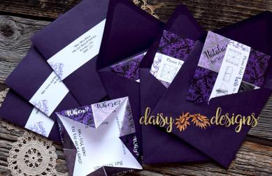 Damask Fortune Teller invites in envelopes with instructions