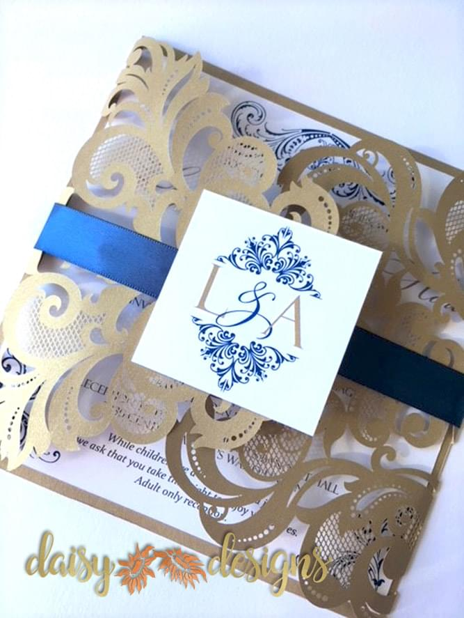 Elegant Gold laser-cut with Royal Navy accents