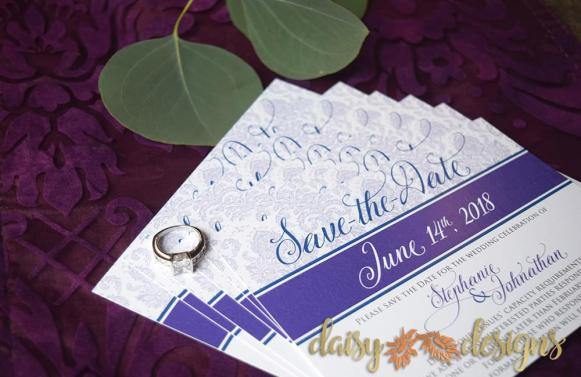 Plum Damask save-the-date