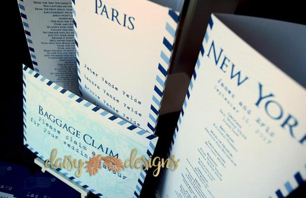 passport table menu sign