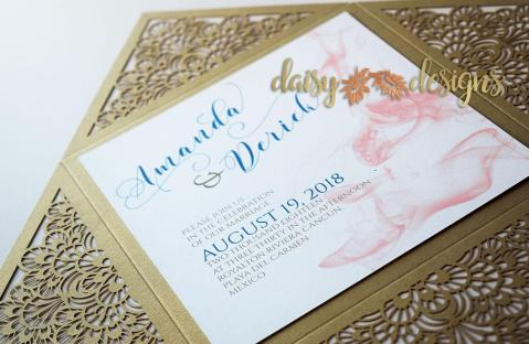 Smokey Blush on Gold Laser-cut background close-up