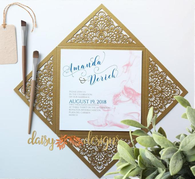 Smokey Blush on Gold Laser-cut display