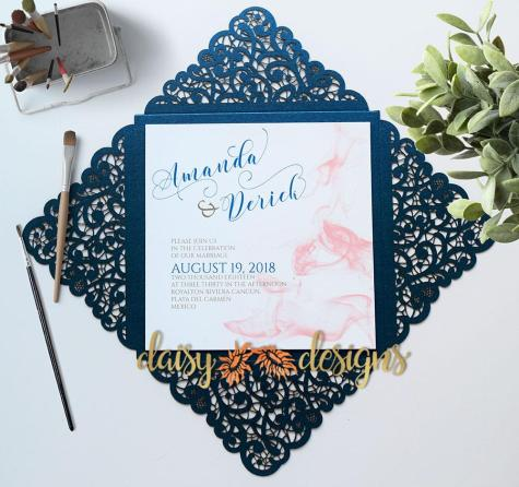 Smokey Blush on Blue Laser-cut Display
