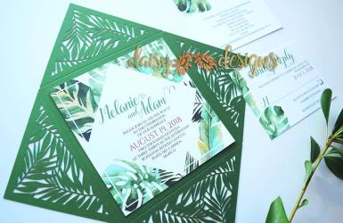 Tropical Laser-cut invite and rsvp
