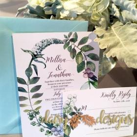 Berry Wreath invitation and RSVP