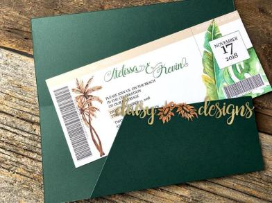 Travel Ticket - tropical theme