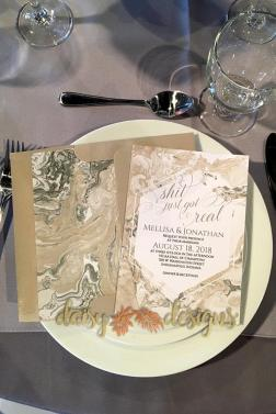 Sand Marble invite on place setting