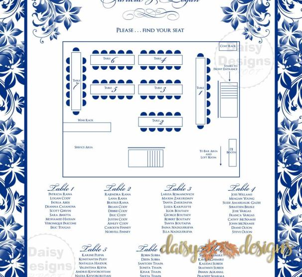 Navy Floral Seating Chart details