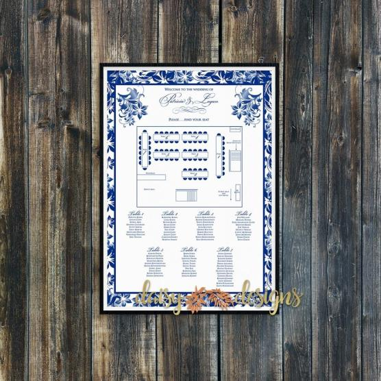 Navy Floral Seating Chart